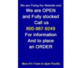 WE ARE OPEN     call Us (800) 987-9249 .